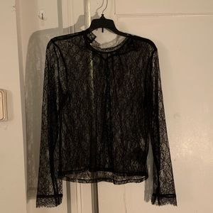 transparent top with black lace